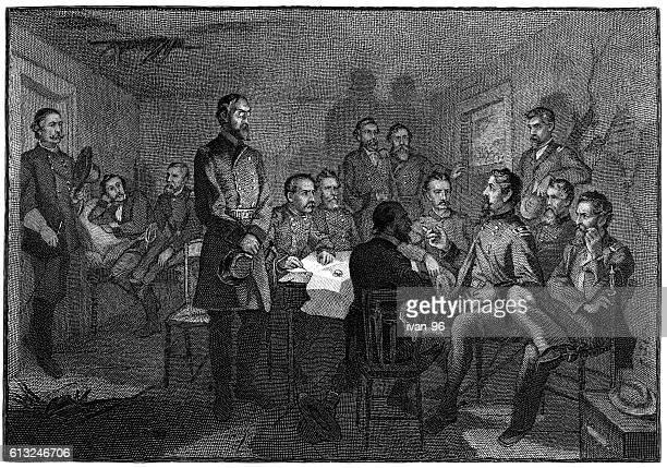 general meade`s council of war gettysburg - american civil war battle stock illustrations