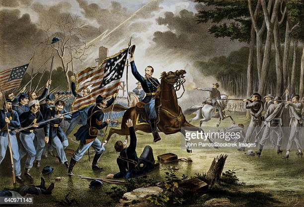 general philip kearnys fatal charge at the battle of chantilly. - cavalry stock illustrations