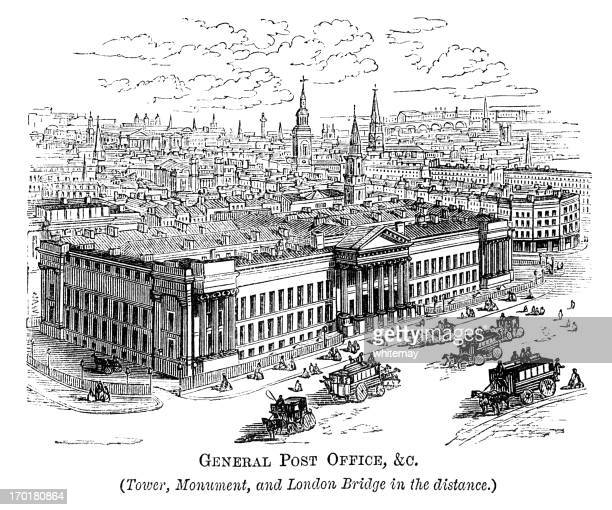 general post office, corner of cheapside & st martin's-le-grand (1871) - corner of building stock illustrations, clip art, cartoons, & icons