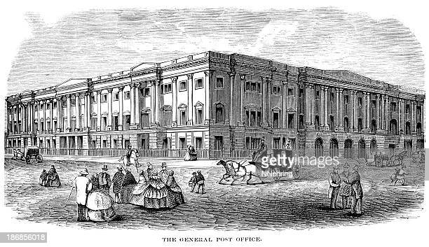 us general post office engraving - post office stock illustrations, clip art, cartoons, & icons