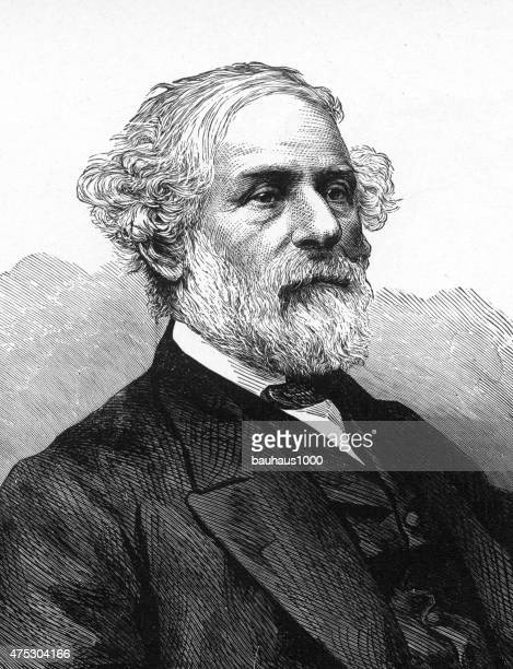 ilustraciones, imágenes clip art, dibujos animados e iconos de stock de general robert e. lee grabado - old man portrait