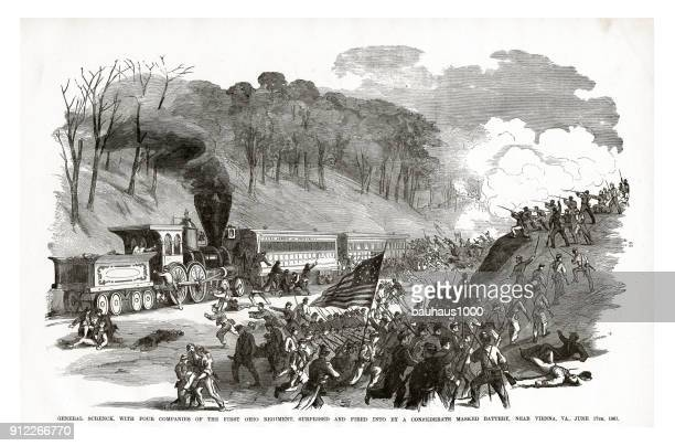 general schenck surprised and fired into by a confederate masked battery near vienna, virginia, june 17, 1861 civil war engraving - vienna va art stock illustrations