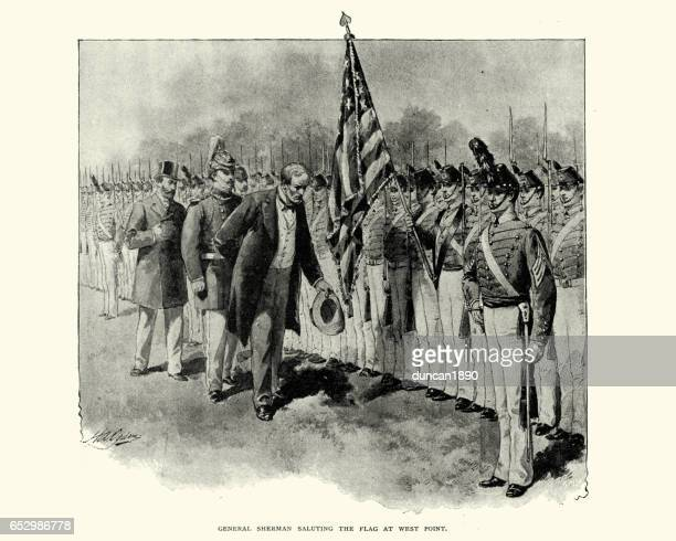general sherman saluting the flag at west point - west point military academy stock illustrations