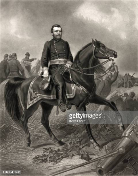 general ulysses s. grant riding a horse in a civil war battle - ulysses s grant stock illustrations