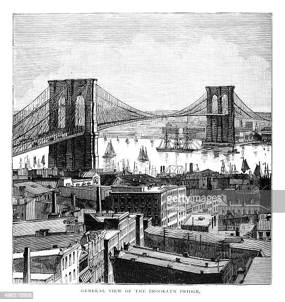 general view of the brooklyn bridge - brooklyn bridge stock illustrations, clip art, cartoons, & icons