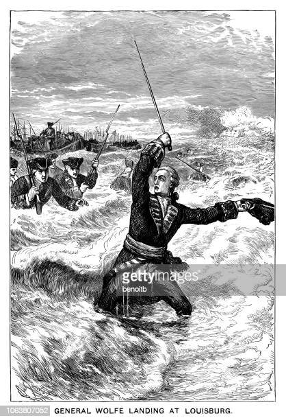 general wolfe landing at louisbourg - louisbourg stock illustrations, clip art, cartoons, & icons