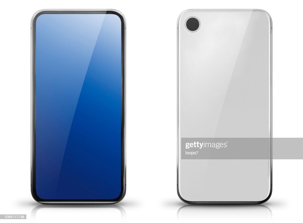 Generic Big Screen Smartphone Front and Rear View : stock illustration