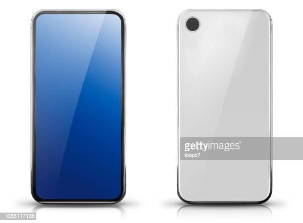 generic big screen smartphone front and rear view - generic description stock illustrations, clip art, cartoons, & icons