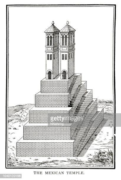 1860 の木版画からメキシコで一般的な teocalli (寺院ピラミッド) - 1800~1809年点のイラスト素材/クリップアート素材/マンガ素材/アイコン素材