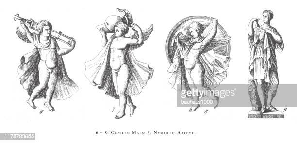 illustrations, cliparts, dessins animés et icônes de genii of mars, nymph or artemis, classical deities and mythological characters, engraving antique illustration, publié en 1851 - zeus
