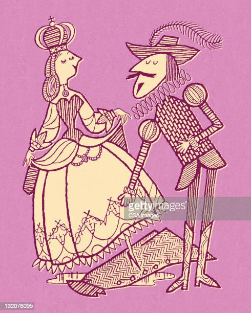 gentleman helping lady cross puddle - medieval queen crown stock illustrations