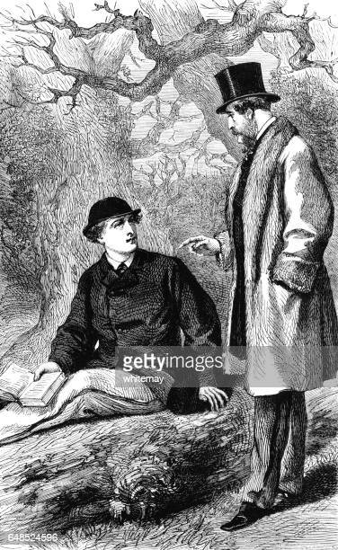 Gentleman talking to a Victorian man reading a book