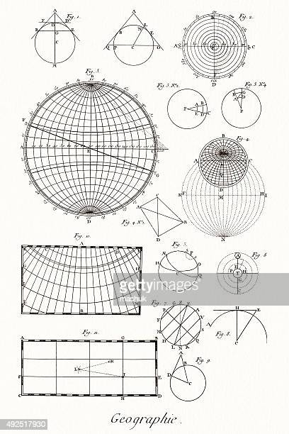 geography and math, 18 century diderot encyclopedia - astronomy stock illustrations