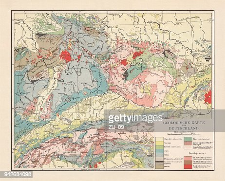 geological map of southern germany bohemia switzerland and austria published 1897 stock illustration getty images