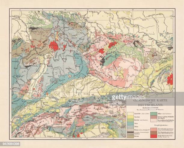 Geological map of southern Germany, Bohemia, Switzerland and Austria, published 1897
