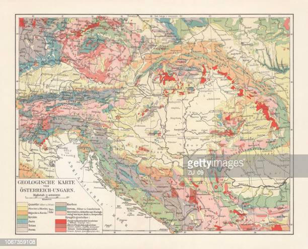Geological map of the Austro-Hungarian Empire, lithograph, published in 1897