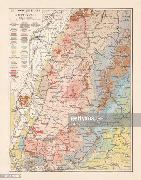 geologische karte des schwarzwaldes, baden-württemberg, deutschland, lithographie, 1897 - geologie stock-grafiken, -clipart, -cartoons und -symbole