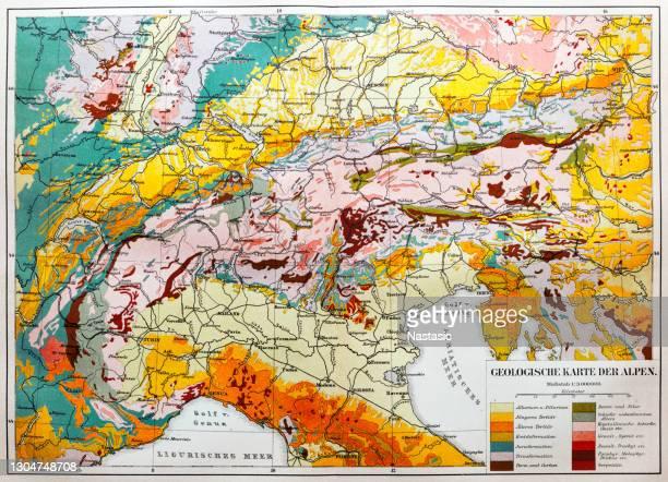 geologische karte der europäischen alpen - bodensee karte stock-grafiken, -clipart, -cartoons und -symbole