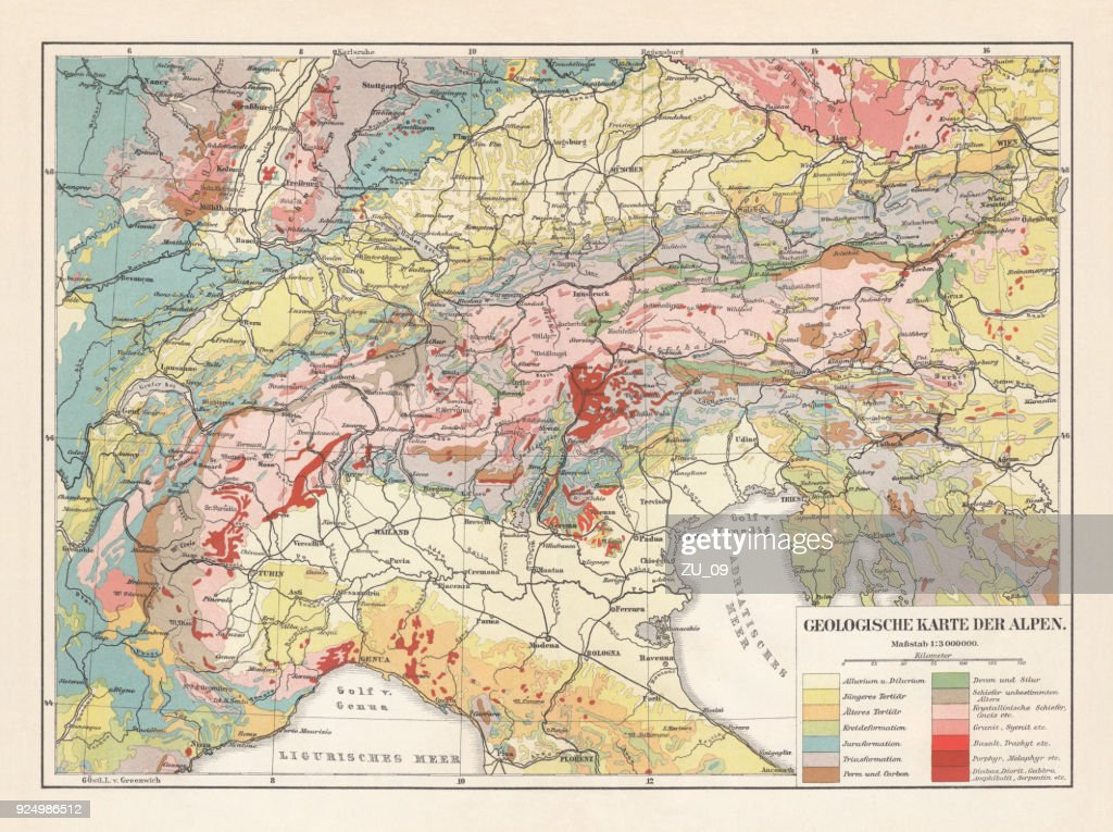 Geological map of the European Alps, lithograph, published in 1897 : stock illustration