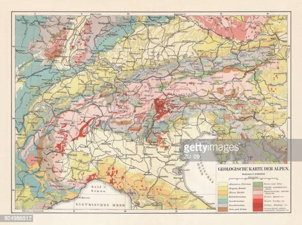 Geological map of the European Alps, lithograph, published in 1897