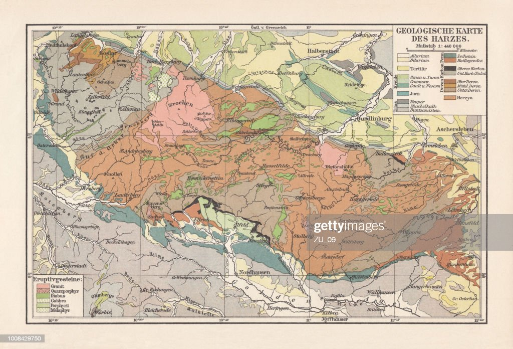 Geological map of the Harz Mountains, Germany, lithograph, published 1897 : stock illustration
