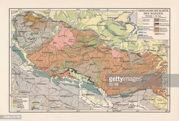 geological map of the harz mountains, germany, lithograph, published 1897 - basalt stock illustrations, clip art, cartoons, & icons