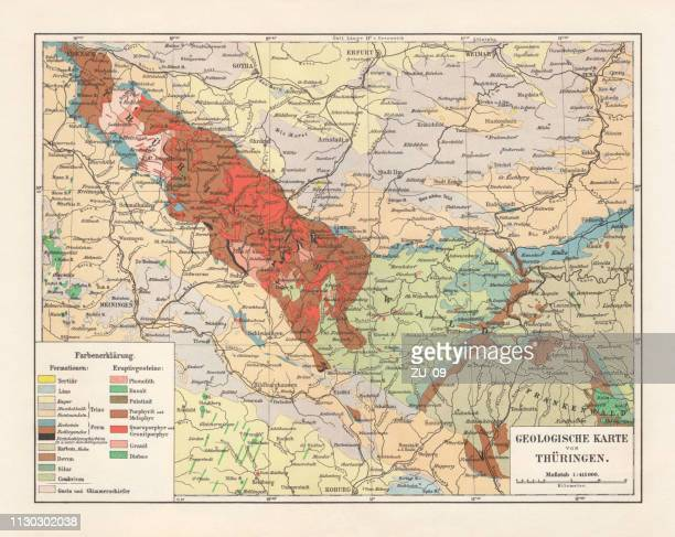 geological map of thuringia, germany, lithograph, published in 1897 - basalt stock illustrations, clip art, cartoons, & icons
