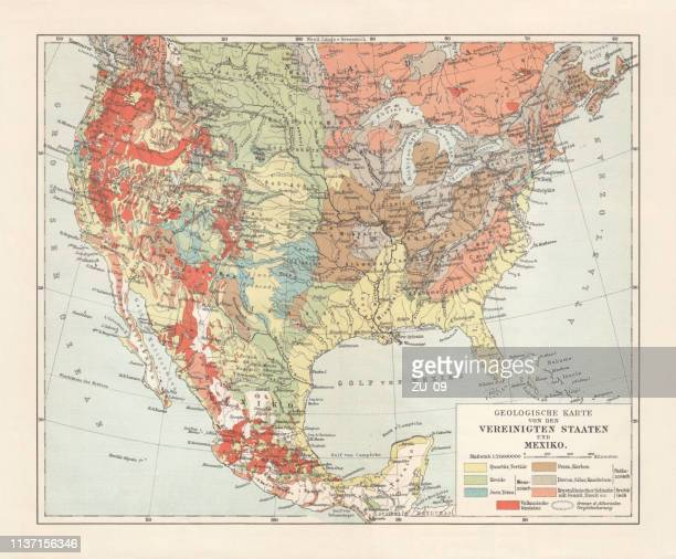 Geological map of USA and Mexico, lithograph, published in 1897