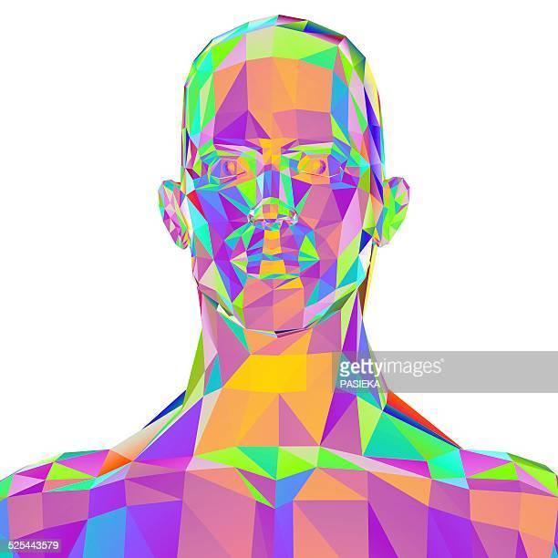 illustrazioni stock, clip art, cartoni animati e icone di tendenza di geometric abstract polygonal male head - human face