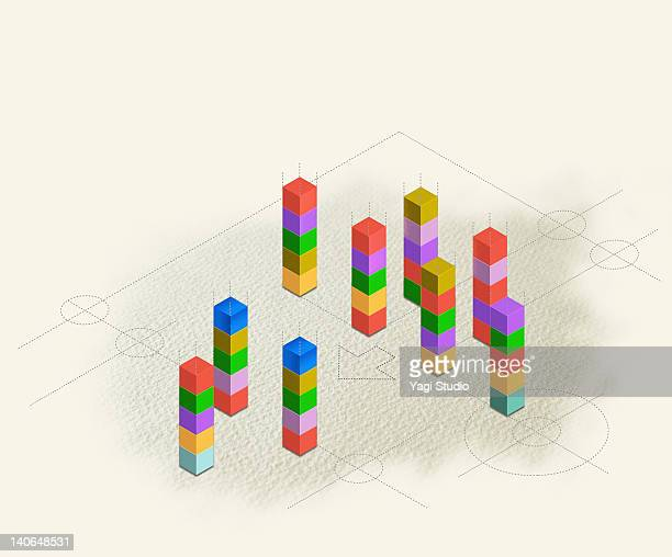 geometric block connection - stack stock illustrations