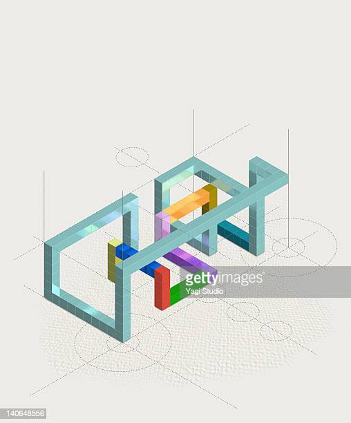 geometric block connection - paperwork stock illustrations