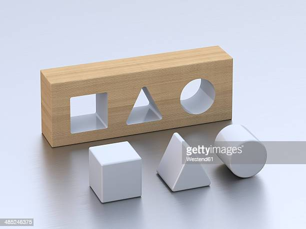 geometric forms on white ground, 3d rendering - simplicity stock illustrations, clip art, cartoons, & icons