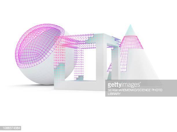 stockillustraties, clipart, cartoons en iconen met geometric objects with wireframe, illustration - draadmodel