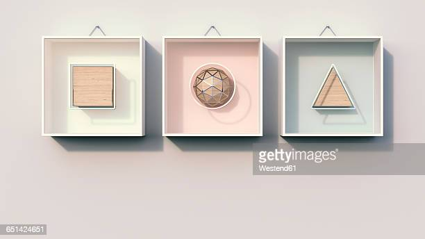 geometric shapes hanging on wall, 3d rendering - angle stock illustrations