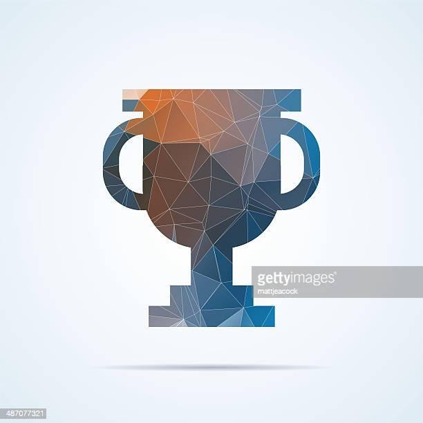 ilustrações, clipart, desenhos animados e ícones de troféu geométricas ícone - trophy
