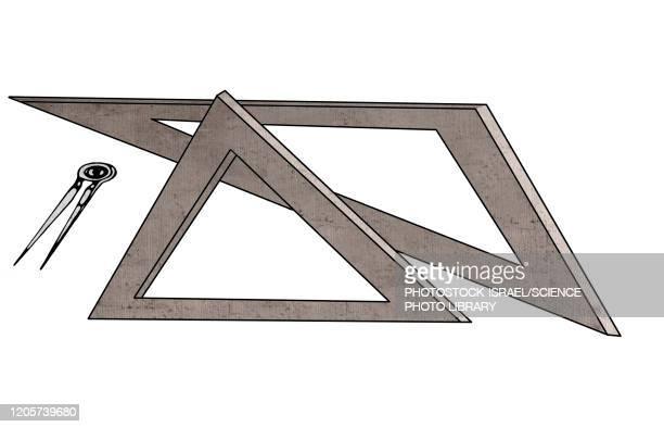 geometry, conceptual illustration - ruler stock illustrations