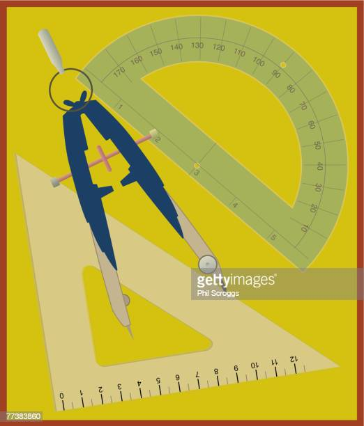 A geometry set drawn agaist a yellow background