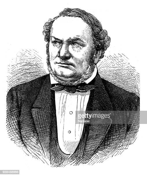 georg gottfried gervinus (1805-1871)  german literary and political historian - politics and government stock illustrations, clip art, cartoons, & icons