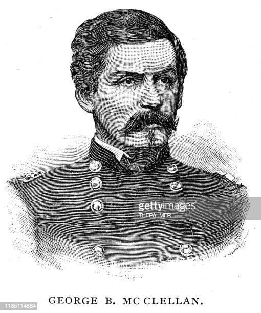ilustraciones, imágenes clip art, dibujos animados e iconos de stock de george brinton mcclellan grabado 1895 - ingeniero civil