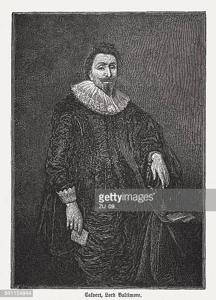George Calvert, 1st Baron Baltimore (1579-1631), wod engraving, published 1884