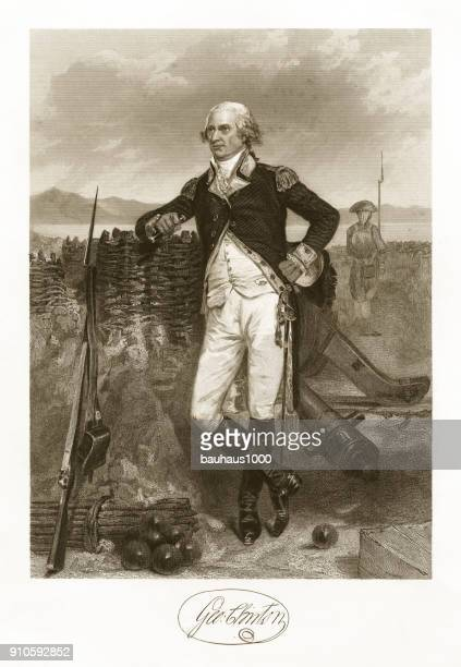 george clinton engraving - bill of rights stock illustrations