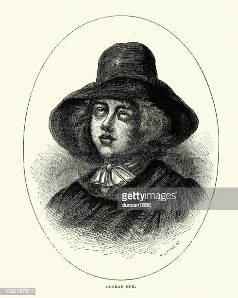 george fox, founder of the religious society of friends - quaker stock illustrations