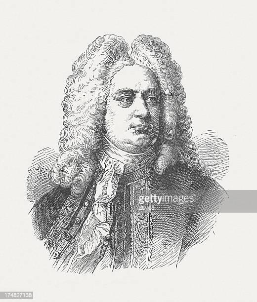 george frideric handel (1685-1759), german-british composer, wood engraving, published 1877 - composer stock illustrations