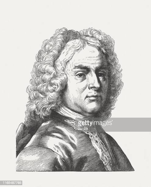 ジョージ・フリデリック・ヘンデル(1685-1759)、ドイツ・イギリスの作曲家、木彫り、1895年出版 - ジョージ ヘンデル点のイラスト素材/クリップアート素材/マンガ素材/アイコン素材