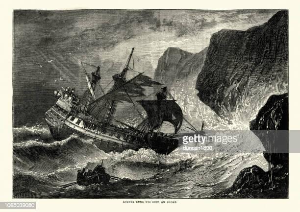 george somers runs his ship on shore, bermuda - ship wreck stock illustrations