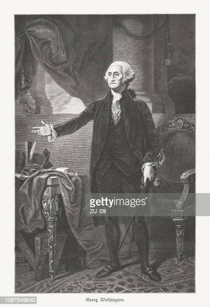 george washington (1732-1799), 1st u.s. president, wood engraving, published 1886 - george washington stock illustrations