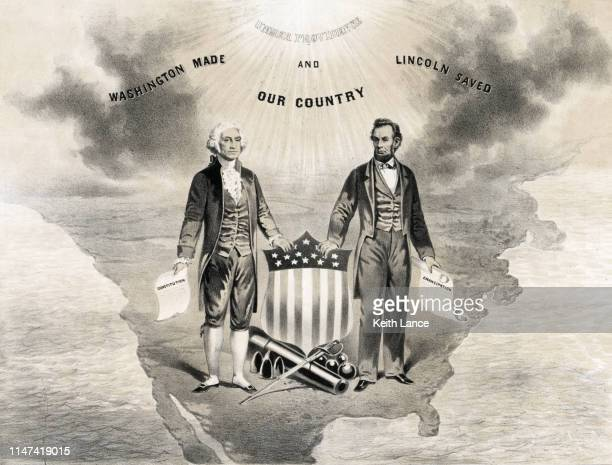 george washington, abraham lincoln, and the usa - declaration of independence stock illustrations