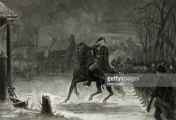 ilustraciones, imágenes clip art, dibujos animados e iconos de stock de george washington en la batalla de trenton - american revolution