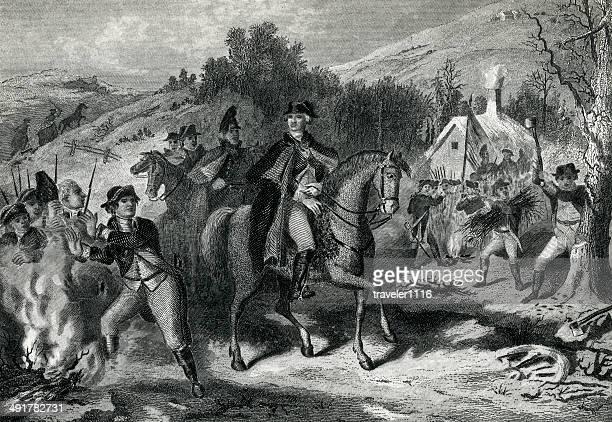 ilustraciones, imágenes clip art, dibujos animados e iconos de stock de george washington en valley forge - american revolution