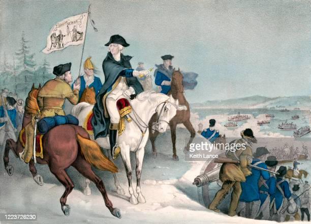 george washington crosses the delaware river, 1776 - american revolution stock illustrations